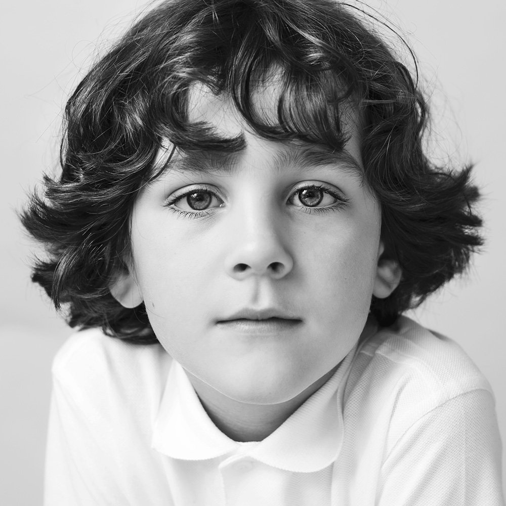 West London studio photoagraphy of children in black and white